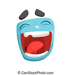 blaues, lustiges, Quadrat, bunte, Aufkleber, Freigestellt, Gesicht, vektor, lachender,  emotional, karikatur,  emoji