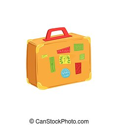 Vintage Suitcase With Travel Stickers And Stamps Item From Baggage Bag Cartoon Collection Of Accessories