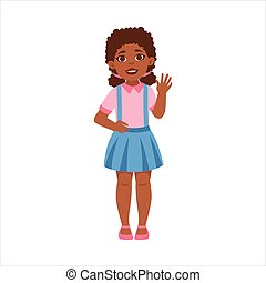 Black Teenage Girl Waving, Part Of Growing Stages With Kids In Different Age Vector Set
