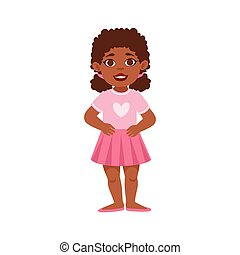 Black Kid Girl Standing Smiling, Part Of Growing Stages With Kids In Different Age Vector Set