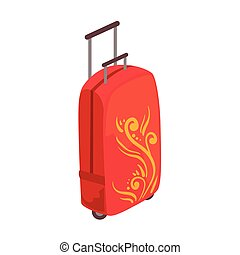 Red Large Suitcase On Wheels With Telescopic Handle And...