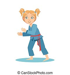 Girl In Blue Kimono Fighting In Sparring On Karate Martial...