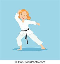Girl With Ponytails In White Kimono On Karate Martial Art...