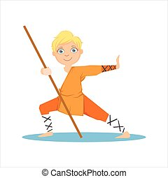 Boy In Shaolin Monk Orange Clothes With a Pole On Karate...