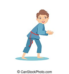 Boy In Blue Kimono In Sparring Fight On Karate Martial Art...