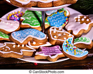 Colorful gingerbread Christmas cookies in Tiered Cookie...