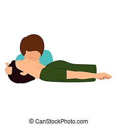 human silhouette doing resuscitation vector illustration...