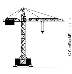 building crane black silhouette outline vector illustration