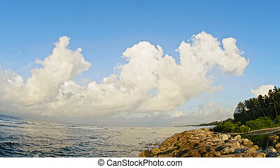 Sea landscape in Dominican Republic - summer waves, clouds,...