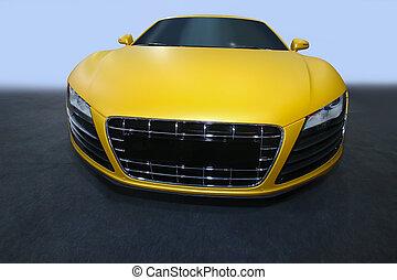 yellow sports car - beautiful modern yellow sports car