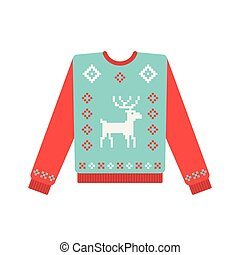Ugly christmas sweater with deer pattern
