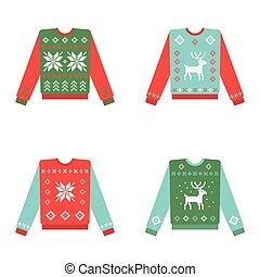 Set of ugly christmas sweaters with winter pattern