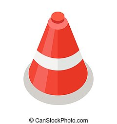 Traffic Cone Icon - Traffic cone icon in flat. Safety and...