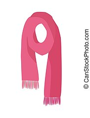 Red Knitted Scarf Isolated on White Background - Knitted...