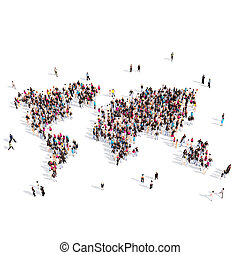 people group shape map World - Large and creative group of...