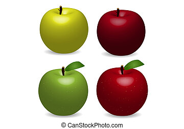 Image of various colorful vector apples on a white background.