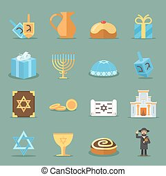 Jewish flat icons. Israel and judaism vector symbols with...