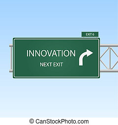 "Image of a highway sign pointing to ""Innovation"" with a sky background."