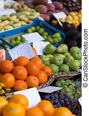 Fresh exotic fruits in Mercado Dos Lavradores. Funchal,...