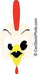 Emotions cock icon. Character cartoon rooster head