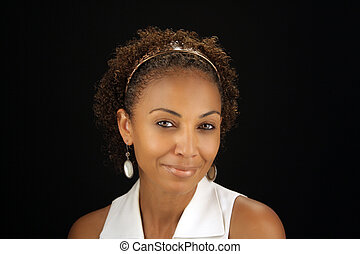 Mature Black Woman Headshot 1 - Studio close-up of a lovely...