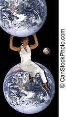 Black Woman Sitting on the Earth 1 - A lovely mature black...