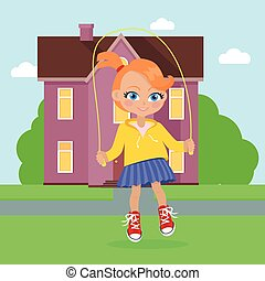 Girl Jumping on Rope. Vector