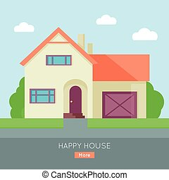Happy House with Terrace Banner Poster Template. - Happy...