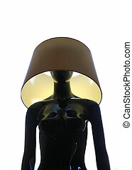 mannequin with a lampshade on his head