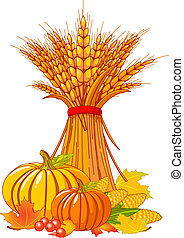 Thanksgiving harvest background - Seasonal background with...
