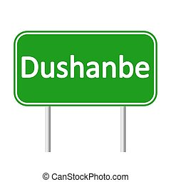 Dushanbe road sign. - Dushanbe road sign isolated on white...