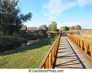 wooden bridge in Kopacvo Baranja - long new wooden bridge in...