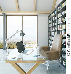 Designer workplace in interior