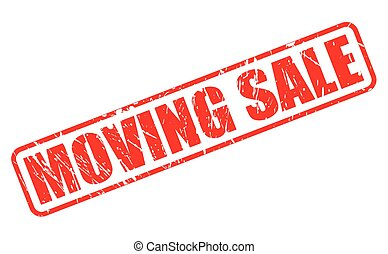 MOVING SALE red stamp text on white