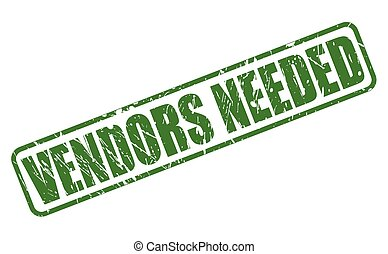 VENDORS NEEDED green stamp text on white
