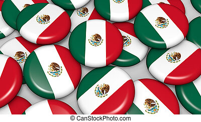 Mexico Flag Badges Background - Mexico flag on badges...