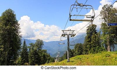 Chairlift. TimeLapse. Gazprom center, Sochi, Russia