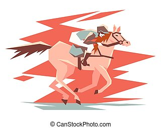 Equestrian horse racing. Rider on stallion quickly jumps....