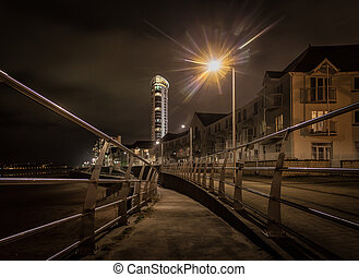 Swansea promenade at night - Evening along the promenade at...
