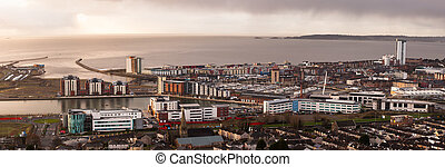 Daybreak over Swansea city - A view of Swansea centre and...