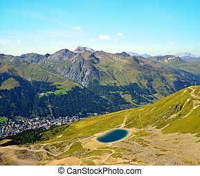 View of the city Davos from the mountain top Jakobshorn in...