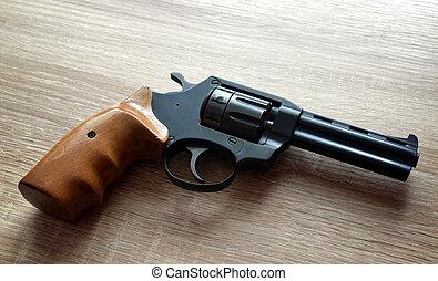 Black revolver pistol