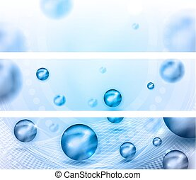 Beautiful abstract banners with light blue balls and glow