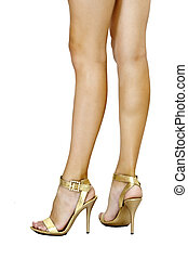 Long perfect legs and golden shoes - Long perfectfemale's...