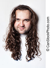 Funny men's head. - Funny men's head, hair with long curly...
