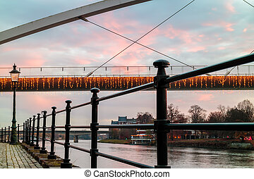 Evening view at the Maas river in the Dutch city of...