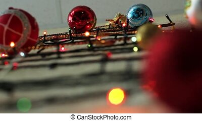 Multi-colored flashing lights garland on the wall