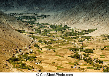 Aerial view of ladakh landscape, from top of Changla pass. -...