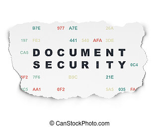 Privacy concept: Document Security on Torn Paper background...