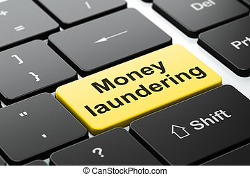 Currency concept: Money Laundering on computer keyboard...